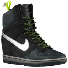 Nike Women's Dunk Sky Hi Sneakerboot 2.0 (11.5, Black/Metallic Silver/Anthracite/Volt) - Nike sneakers for women (*Amazon Partner-Link)
