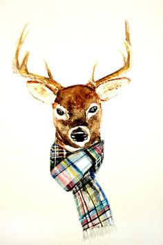 Christmas/winter home decor—deer buck with winter scarf watercolor print❣ by craftberrybush
