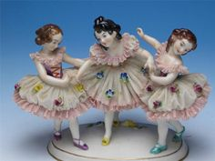 Dresden Lace Porcelain Figurine Three Young Girls Dancing to Be Restored | eBay