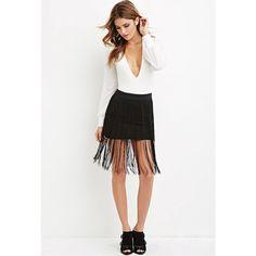 Forever 21 Women's  Fringed-Hem Skirt ($20) ❤ liked on Polyvore featuring skirts, mini skirts, full length skirt, mini skirt, short white skirt, white mini skirt and full length white skirt