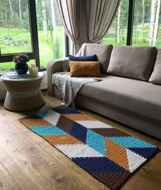 Carpet Runners On Stairs Pictures Shag Carpet, Diy Carpet, Rugs On Carpet, Silver Grey Carpet, Beige Carpet, Crochet Carpet, Crochet Home, Knitting Designs, Knitting Projects