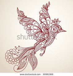 stock vector : beautiful bird in a vintage-style, Hand-Drawn Illustration
