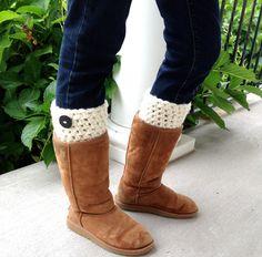 Crochet Leg Warmers Boot Cuffs Cream Button by JadeExpressions