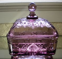 Jeannette Glass Purple Amethyst for Tiara Exclusives Honey Bees Honey Box.