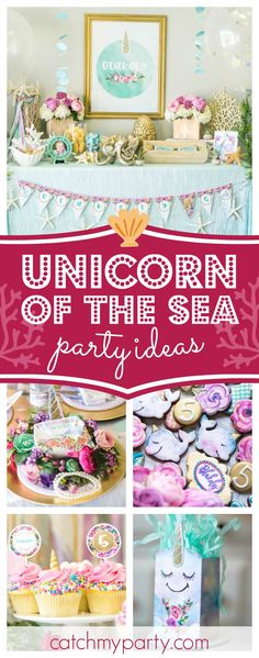 Take a look at this incredible Unicorns of the Sea birthday party!! The cookies are fabulous!! See more party ideas and share yours at CatchMyParty.com