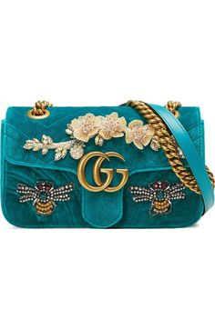 Free shipping and returns on Gucci Mini GG Marmont Matelassé Velvet Shoulder Bag at Nordstrom.com. Pre-order this style today! Add to Shopping Bag to view approximate ship date. You'll be charged only when your item ships.Plush pink velvet with matelassé chevrons provides an elegant backdrop for a sparkling crystal bow, sequined floral details and gilded double-G hardware on a mini bag finished with a versatile pull-through chain strap.