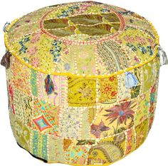 A stunning multicoloured one-off pouf exclusive design. Once sold, never repeated. Matching back.Small slit at the bottom to allow for filling.