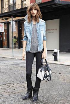 Freja Beha Erichsen  denim, heather grey. skinnies. Everything she wears is always so damn good.