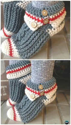 Crochet Sock Monkey Slippers Pattern - Women Free Patterns by maryann maltbyThese Crochet Slippers are easy beginner friendly free patterns that you will love. This is a collection of popular ideas you& different awesome patternsFabulous DIY C Crochet Boots, Knit Or Crochet, Crochet Crafts, Crochet Clothes, Crochet Stitches, Crochet Baby, Crochet Projects, Slippers Crochet, Felted Slippers Pattern