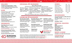 EO-Menu-updated_web_P1 Burger Sides, Hand Cut Fries, Usda Prime, Burger Menu, Smoked Bacon, Chopped Salad, Cheddar Cheese, Burgers, Cheddar