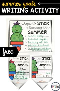 This fun summer writing activity will encourage your students to set goals for this summer while also working on their writing skills! Guaranteed to keep kids motivated and learning all summer long! #summergoals #summerlearning Kindergarten Writing Activities, Playdough To Plato, Summer Goals, Confidence Building, Setting Goals, Writing Skills, Encouragement, Students, Letters