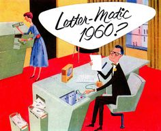 Letter-Matic 1960? ad from 1956. Illustrated by Fred McNabb.