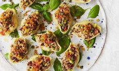 Eleonora Galasso's stuffed conchiglioni on basil leaves.