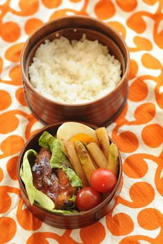 Japanese Bento lunch box: rice+cherry tomatoes+lettuce+boiled egg+grilled chicken with whatever sauce you want+ butternut squash fries