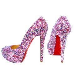 Louboutin Shoes Women, Christian Louboutin Shoes, Bling Heels, Jeweled Shoes, Pink Bling, Red Bottoms, Platform Pumps, Shoe Game, Dress Ideas