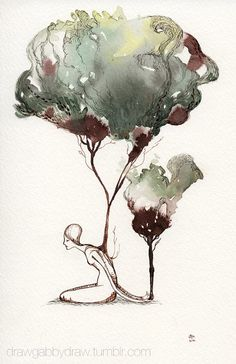Growing Tree Original Watercolor and Ink Painting by drawGabbydraw, $75.00