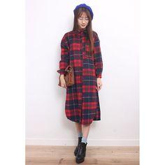 Tartan Long Wooly Shirt Dress