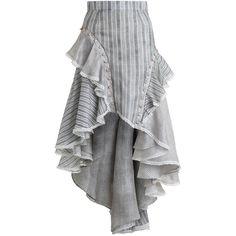 ZIMMERMANN Cavalier Antique Skirt found on Polyvore featuring skirts, stripe skirt, zimmermann skirt, embellished skirt, zimmermann and striped high low skirt