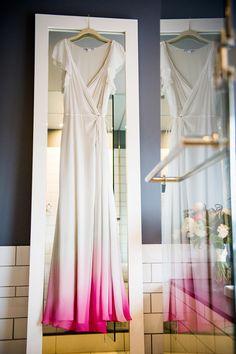 ombre pink wedding dress