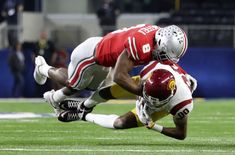 Dec 29, 2017; Arlington, TX, USA; USC Trojans wide receiver Deontay Burnett (80) cannot make a catch as Ohio State Buckeyes cornerback Kendall Sheffield (8) defends during the first quarter in the 2017 Cotton Bowl at AT&T Stadium. Mandatory Credit: Kevin Jairaj-USA TODAY Sports