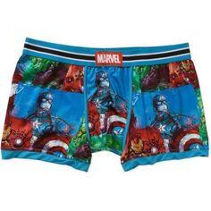 Avenger's Hero Patchwork Men's Boxer Brief, Size: XL, Blue