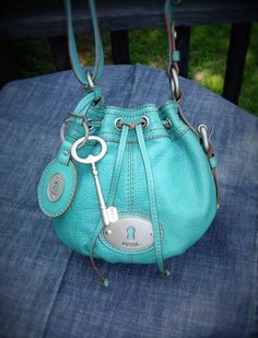 Fossil Shoulder Bag-Boho Chic Purse-Beachy Turquoise Blue Purse-Vintage Fossil Leather Purse-Fossil Bucket Bag by 23littlewishes on Etsy