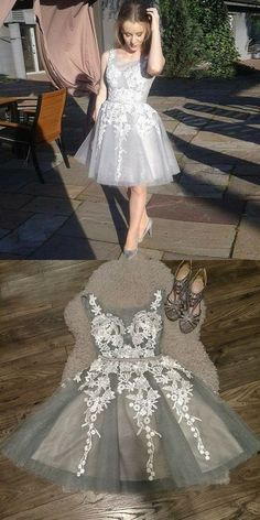 Prom Dress Princess, A-Line Crew Neck Lace-up Gray Homecoming Dress with Appliques Shop ball gown prom dresses and gowns and become a princess on prom night. prom ball gowns in every size, from juniors to plus size. 2 Piece Homecoming Dresses, Straps Prom Dresses, Elegant Bridesmaid Dresses, Tulle Prom Dress, Lace Dress, Dresses Uk, Graduation Dresses, Fashion Dresses, Formal Dresses