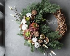 ♥Сozy and warm Rustic Wreaths for your home♥ by RusticGreeneryDecor Rustic Christmas, Christmas Wreaths, Christmas Decorations, Rustic Flowers, Fall Flowers, Flower Factory, Grave Decorations, Cotton Wreath, Wreath Crafts