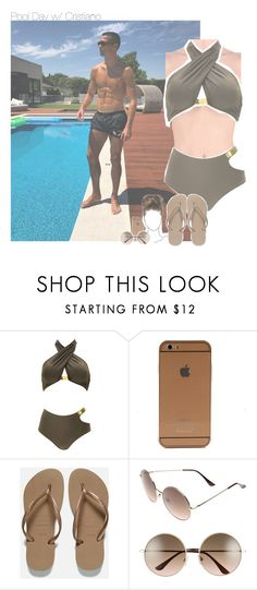 """Pool Day w/ Cristiano"" by erika-sads ❤ liked on Polyvore featuring Norma Kamali, Havaianas, BP., cristianoronaldo, soccer, football, portugal and realmadrid"