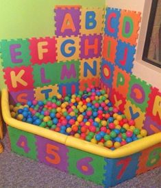 Interlocking Letter Foam Tile Play Mats Let You DIY a Mini Kids Ball Pit - ABC foam tiles ball pit - letters jigsaw puzzle piece pads<br> Method Ikea, Baby Play Areas, Toddler Playroom, Boys Playroom Ideas, Toddler Boy Room Ideas, Toddler Play Area, Bookshelves Kids, Bookshelf Diy, Deco Originale