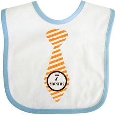 Inktastic Boy Tie Seven Months Orange Baby Bib 7 Gift Clothing Infant, Blue