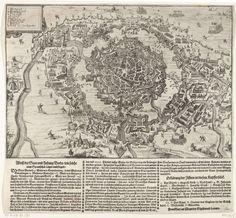 Anonymous   Beleg van Breda, 1624, Anonymous, Sigismund Latomo, 1624   Het beleg van Breda door het Spaanse leger onder Spinola, 27 augustus 1624 tot 5 juni 1625. Plattegrond van de stad met de omcirkeling door de belegerende troepen. Linksboven de legenda 1-10 in het Nederlands. Gedrukt onder de plaat een tekst in 3 kolommen in het Duits, met de legenda's 1-9 en A-D.