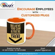 Give your employees coffee mugs with motivational thoughts printed on it and encourage them for productive results. For bulk order, contact gdigital71@gmail.com  #MugPrinting #Gifts #Prizes #DigitalPrinting Mug Printing, Bulk Order, Motivational Thoughts, Galaxy Print, Digital Prints, Coffee Mugs, Encouragement, Printed, Tableware