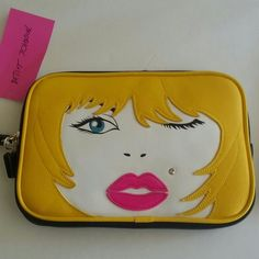 "★☆SALE☆★Betsey Johnson Glamour Face Bag 6""x 9""x1"" Betsey Johnson Bags"