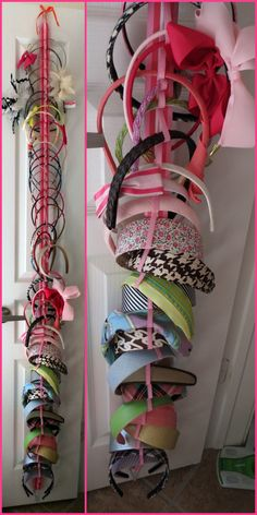 You so could makebone of these for anna http://www.etsy.com/listing/107506202/hanging-headband-organizer-with-elastic