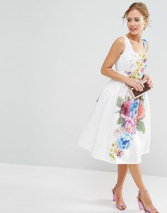 Image 4 of ASOS PETITE SALON Beautiful Floral Placed Midi Prom Dress