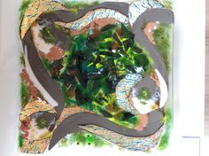 Dramatic abstract garden path scene fused and slumped glass platter by http://www.artmosfair.com/en/shop/HystericFairyFineArt