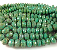 75 CENTS PER INCH $12.00 FOR 16 INCH STRAND BEADS TO BLOOM ~~ 1 Graduated Strand Turquoise Green Picasso Czech Glass Rondelle Beads