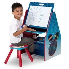 Disney Mickey Mouse Activity Center Easel Art Desk with Stool and Toy Organizer #affiliate