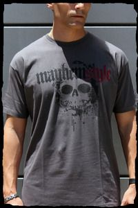 mayhemstyle  $12.00 - On Sale    A charcoal color shirt with our mayhemstyle logo and dripping skull on the front, and mayhemstyle on the back of the shirt.    This is one of our simplest and cool design, plus affordable to those who want to wear it with attitude and confidence.