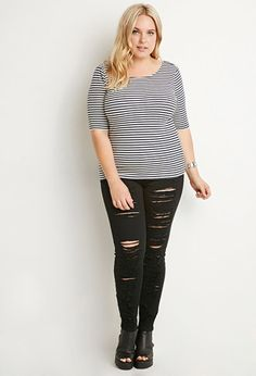 Plus Size Scoop-Back Striped Top | Forever 21 PLUS - 2000140682