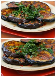 Spicy Grilled Eggplant Recipe with Red Pepper, Parsley, and Mint [from Kalyn's Kitchen]. All I am saying is give eggplant a chance, because everyone I've made this recipe for has loved it! #Eggplant #Grilling #LowCarb #Vegan #Paleo