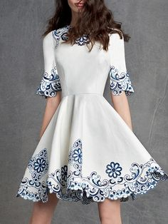 White and Blue Porcelain Half Sleeve Embroidered Flare Dress 42.99