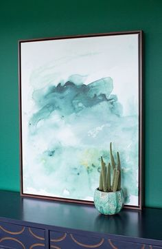 about this piece We just love all the crisp green colors this time of year… the Frasier fur, the sparkling spruce, the classic pine… This pretty green watercolor atop a snowy white background will bre #abstractart