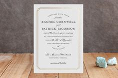"""""""Luxe Border"""" - Formal, Classical Foil-pressed Wedding Invitations in Gold by Sarah Brown."""