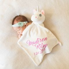 Best baby girl unicorn gift for under $20!! Personalized with name and date for free. available on etsy by Jamminthread