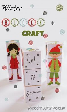 Winter Block Craft from Speech Room Style (FREE printable included!) elf / winter boy and girl building / stacking toy for kids that doubles as a Christmas or winter holiday decoration. Winter Crafts For Kids, Christmas Crafts For Kids, Simple Christmas, Gifts For Kids, Christmas Holidays, Preschool Christmas, Winter Holiday, Xmas, Art Activities For Kids