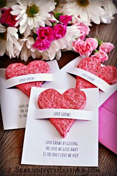 Hand Made Flower Seed Paper Plantable Heart Favors (Serendipity Refined) Mothers Day Crafts, Crafts For Kids, Valentine Crafts, Valentines, Seed Paper, Flower Seeds, Handmade Flowers, Wedding Favors, Diy Wedding