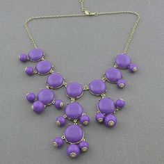 Color Full BIB Statement Bubble Necklace - Purple