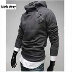 Cotton Long Sleeve Hoodie Coat Pullover for Men - Dark Grey-XXL on eBid United States